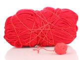 Rosso tricots filati isolato su bianco — Foto Stock