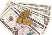 Dolar rachunki i monety bliska — Zdjęcie stockowe