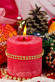 Christmas candle on serving Christmas table background close-up — Stock Photo