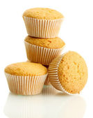 Tasty muffin cakes, isolated on white — Stock Photo
