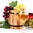 Barrel and glasses of wine and grapes, isolated on white — Stock Photo #14080288