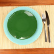 Table setting on wooden background close-up — Stock Photo #14081136
