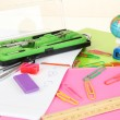 Various school supplies close-up isolated on white — Stock Photo #14081230