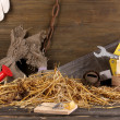 Mousetrap with a piece of cheese in barn on wooden background - Photo