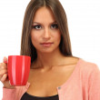 Stock Photo: Beautiful young woman with cup of tea, isolated on white