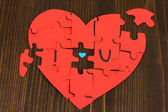Puzzles in form of heart with words I — Stock Photo
