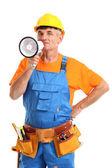 Superintendente de construção direciona reparo isolado no branco close-up — Foto Stock