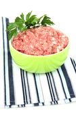 Bowl of raw ground meat isolated on white — Stock Photo
