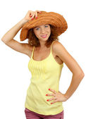 Smiling beautiful girl in beach hat isolated on white — Stock Photo