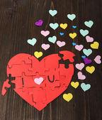 Rompecabezas en forma de corazón con palabras me — Foto de Stock