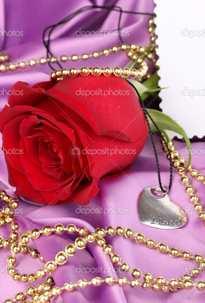 Heart pendant with red rose — Stock Photo #14138431