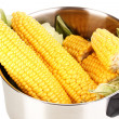 Stock Photo: Fresh corn cobs in pot isolated on white