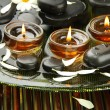 Spa stones with flowers and candles in water on plate — Stock Photo #14165849
