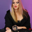 Witch - fortune teller on color background - Foto de Stock