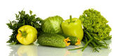 Green vegetables isolated on white — Stock Photo