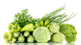 Fresh green vegetables isolated on white — Stock Photo