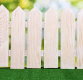 Wooden fence and green grass on bright background — Stock Photo