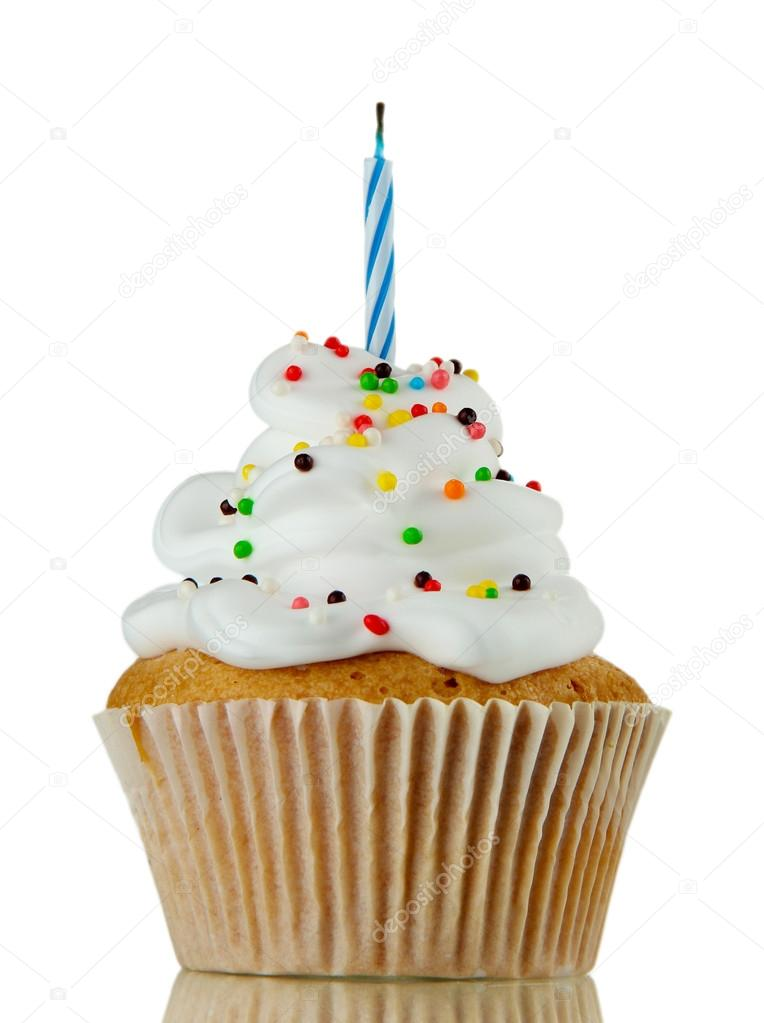Tasty birthday cupcake with candle, on grey background — Stock Photo #14165494
