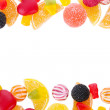 Frame of colorful jelly candies isolated on white — Stock Photo #14301793