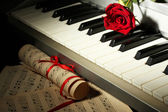 Background of piano keyboard — Stock Photo