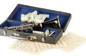 Instrument muzyczny z pieniędzy na białym tle — Zdjęcie stockowe
