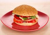 Apetyczne kanapki na płytkę kolor na białym tle — Zdjęcie stockowe