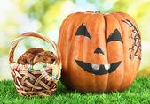 Halloween pumpkin on grass on bright background — Stock Photo