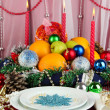 Serving Christmas table on white fabric background - Foto de Stock