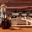 Ingredients for soap making on brown background — Stok Fotoğraf #14316573