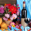 Постер, плакат: Wonderful autumn still life with fruit and wine