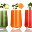 Stock Photo: Fresh vegetable juices isolated on white