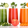 Fresh vegetable juices isolated on white — Stock Photo