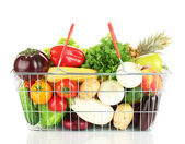 Fresh vegetables and fruit in metal basket isolated on white background — Stock Photo