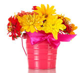 Bouquet of beautiful summer flowers in bucket, isolated on white — Stock Photo