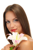 Beautiful young woman with lily, isolated on white — Stock Photo