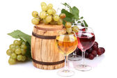Barrel and glasses of wine, grapes, isolated on white — Stock Photo