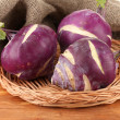 Fresh turnip on wooden background - ストック写真