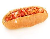 Appetizing hot dog isolated on white — Stock Photo