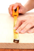 Measuring wooden board close-up — Stockfoto