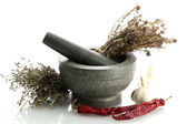 Dried herbs in mortar and vegetables, isolatrd on white — Stock Photo