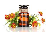 Medizin-flasche und blumen, die isoliert auf weiss — Stockfoto