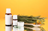 Bottles of medicines and herbs on orange background. concept of homeopathy — Stock Photo