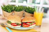 Aptitretande smörgåsar på färgplåt på träbord på fönsterbakgrund — Stockfoto