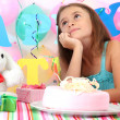 Little beautiful girl celebrate her birthday — Foto de Stock