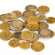 Euro coins isolated on white — Stock Photo
