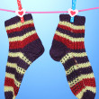 Pair of knit striped socks hanging to dry over blue background — Stock Photo #14345273