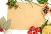 Paper for recipes,vegetables and spices, isolated on white — Stok fotoğraf