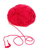 Red knitting yarn isolated on white — Stock Photo