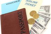 Passport and ticket close-up — Stock Photo