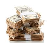 Yüz dolarlık banknotlar yakın çekim üzerinde beyaz izole yığını — Stok fotoğraf